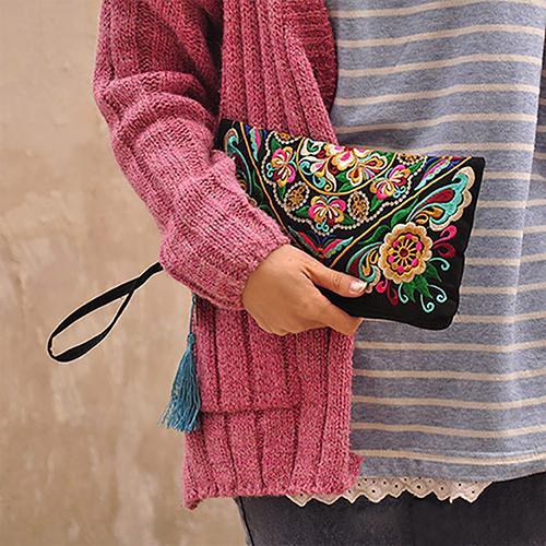 Women's Handbag Purse Retro Embroidered Phone Coin Storage Zipper Bag with Tassel