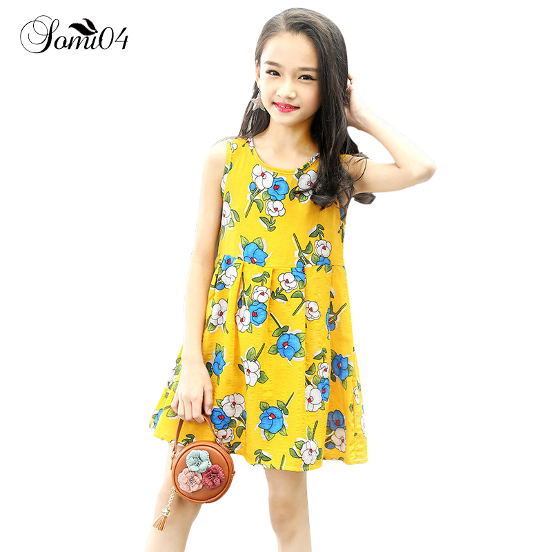 Children Clothing 2018 Summer Girl Floral Dress Flower Sleeveless Casual Little Kids Colorful Vest Dresses for Toddlers Teenager