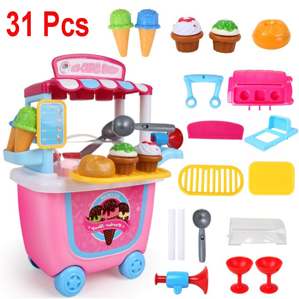 31Pcs Cute Kids Childrens Simulation Ice Cream Shop Pretend Toy Set Role Play Gift Role Playing