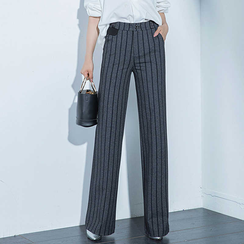 New Style Women's Fashion Striped Flare Pants For Spring Summer Thin Straight Slim Office Lady Trousers Plus Size S 6XL 9XL