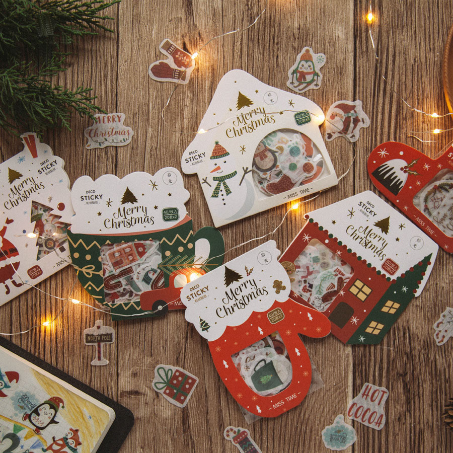 1pack Cute Christmas Series Masking Adhesive Sticker Christmas Tree Decoration DIY Card Scrapbooking Stationery Paper Stickers
