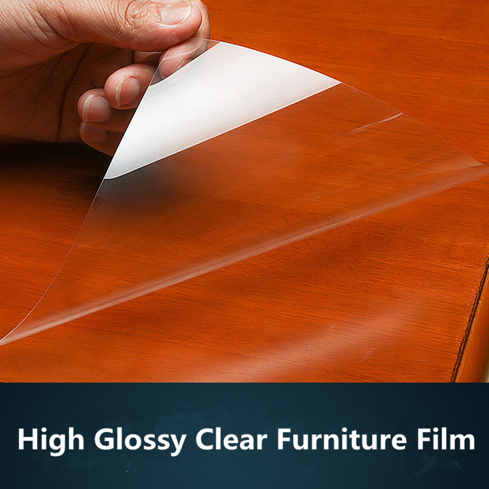 SUNICE Furniture Protective Film Transparent Wrap Film 4mil(0.1mm)/High Glossy/Anti scratch Table Marble Protection PET 0.5x5m