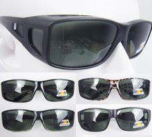 Agstum Sport Polarized wraparound Sunglasses Goggles Clip wear fit over eyeglasses Green lens