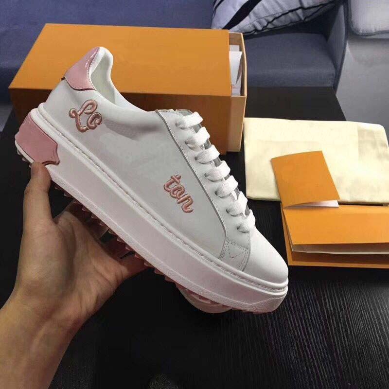 Schuhe Aus Unisex Hohe Lace Blau Lovers Casual Echtem Shoesfamous Atmungsaktive Leder Luxus rosa up Qualität gold Ladiy Für Marke Erwachsene Frau qIIw4tA