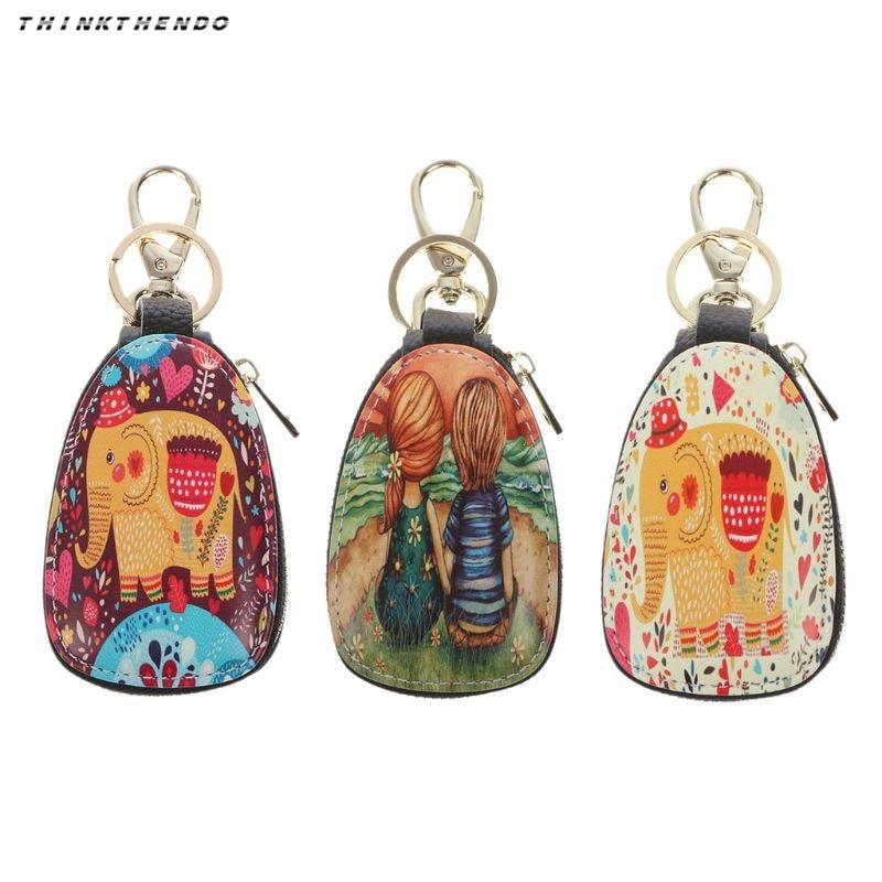 THINKTHENDO Fashion Men Women PU Leather Mini Car Key Holder Cartoon Printing Wallet Case Pouch Purse Key Bag With Keychain New