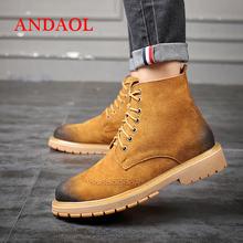 Мужские ботинки из натуральной кожи с круглым носком и ремешком