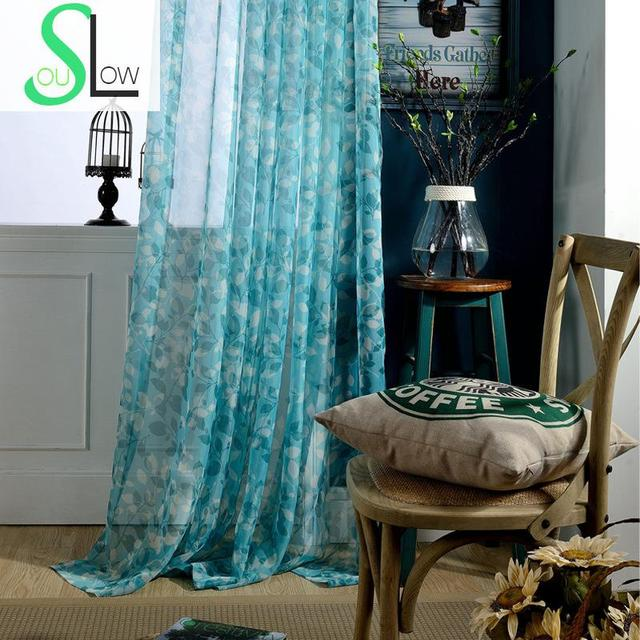 Slow Soul Ivy Simple Printing Curtain French Window Printed Plant Retro Curtains For Living Room Chinese