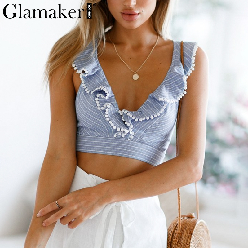 Glamaker Elegant ruffle stripe print tank top Sexy V backless summer crop top cami Women lace up casual camisole tank blouse 4th july america flag style stripe pettiskirt white ruffle tank top 2pc set 1 8year mamg1143