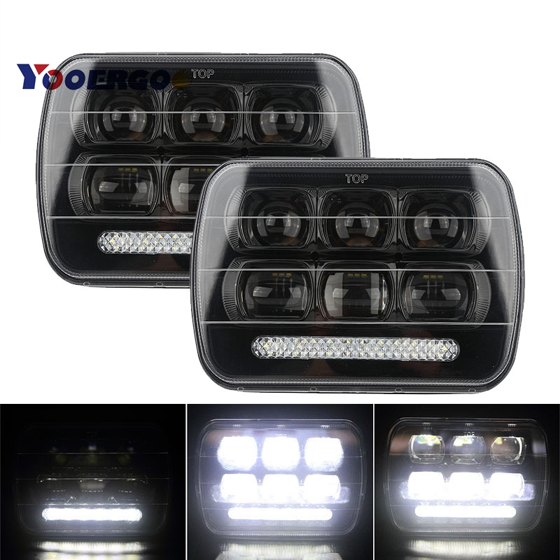 купить 5x7 inch Square LED Headlight 65W DRL Daymaker High Low Beam Offroad Driving Headlamp For Jeep Wrangler YJ Cherokee XJ Truck по цене 4874.74 рублей