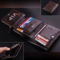 100 Men S ITALIAN Genuine Leather Trifold Pocket Wallet Purse