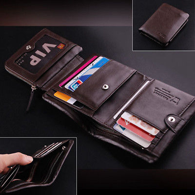 Genuine Leather Men Wallets New Male Short Wallet Purse Brand Design Money Trifold Clutch Wallet With Card Holder Coin Bags