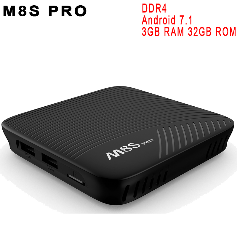 DDR4 M8S Pro Android 7.1 TV Box 3GB RAM 32GB ROM Amlogic S912 64 bit Octa core 4K Set Top 2.4G/5GHz WiFi Bluetooth 4.0 HS HDR 10