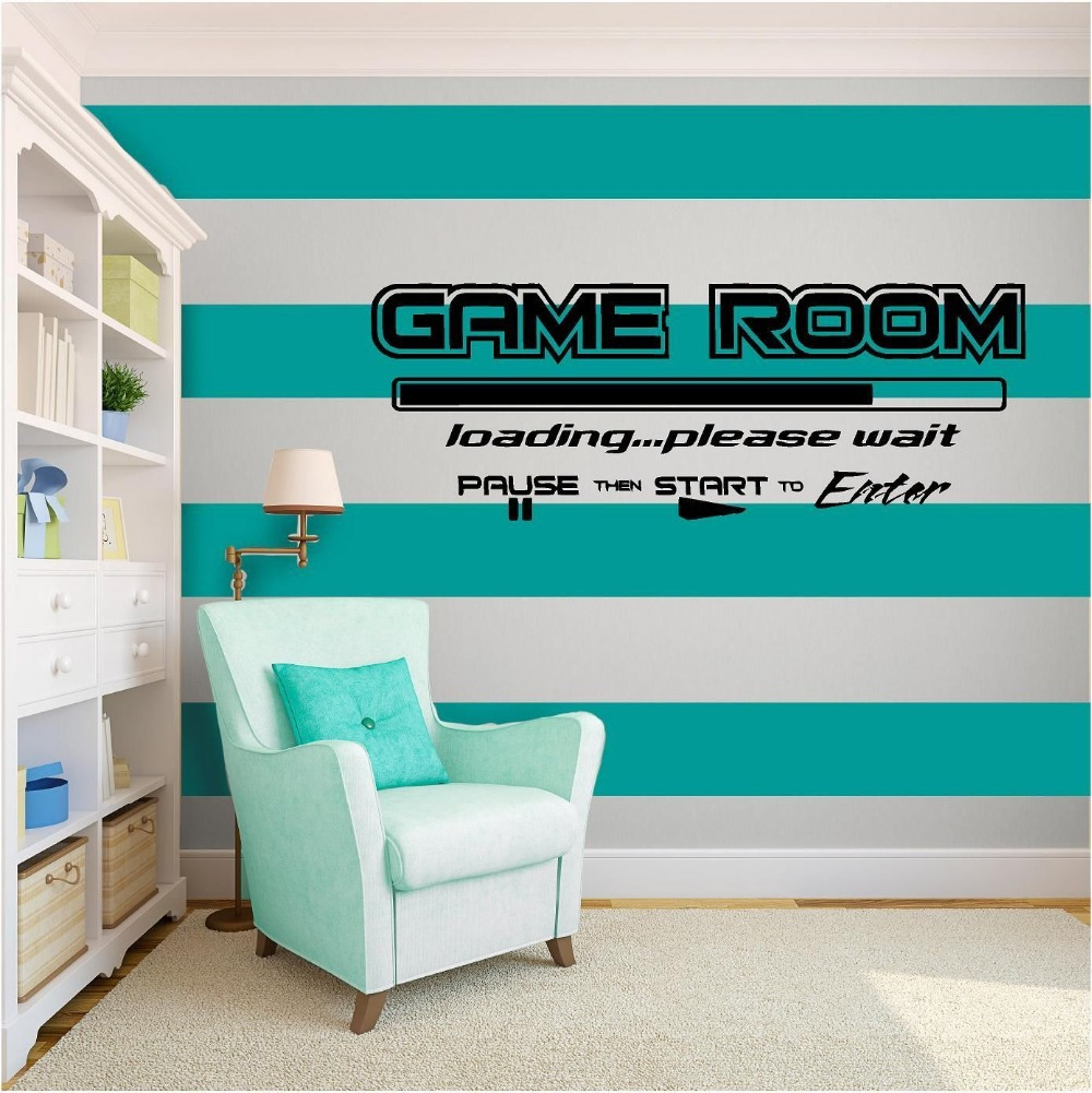 Aliexpress.com : Buy Game Room Wall Sticker Words U0026 Phrases Matte Black  Play Room Mural Pvc Wall Sticker Kids Bedroom Boys Wall Decal Home  Decoration From ...