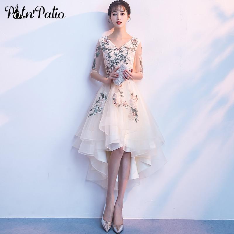 Champagne High Low Prom Dresses 2018 Elegant V-neck Appliques Flowers Short Front Long Back Prom Dresses With Half Sleeves