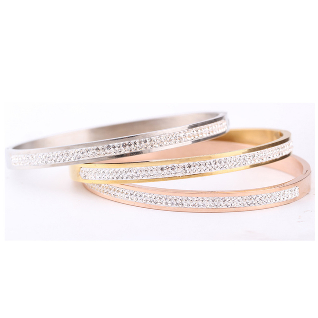 Trendy Jewelry 3 Colors Rose Gold Silver Two Row Crystal Rhinestone Pave Stainless Steel Bracelets Bangles for Women Girl Gifts