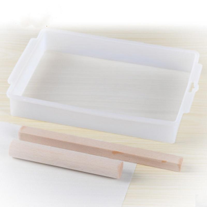 4Pcs/set DIY Handmade Nougat Silicone Mold Non-stick Mat Wooden Flat Roll Nougat Chocolate Mold Rooling Pins Baking Pastry Tools
