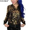 Женщины Золото Блесток Куртка Silver Glitter Пальто Искра Bling Джаз Пальто Девушка Металлик Верхняя Одежда SWF0095-5
