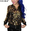Mujeres Chaqueta de Lentejuelas de Oro Plata Capa Brillo de la Chispa de Bling Jazz Abrigo Chica Metallic SWF0095-5 prendas de Vestir Exteriores