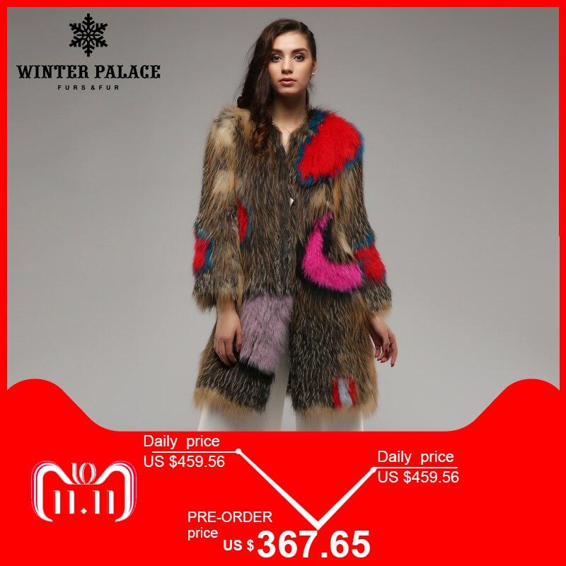 Palazzo d'inverno Super star cappotto di volpe. Multicolore Del Cuoio Genuino Lavorato A Maglia cappotto di pelliccia di volpe, di Modo Sottile Pelliccia di volpe di Inverno cappotto delle donne