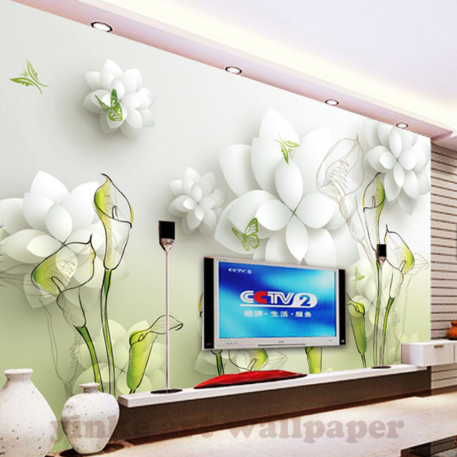 3D Behang Mooie witte Bloemen wit Foto Muurschilderingen Woonkamer ...