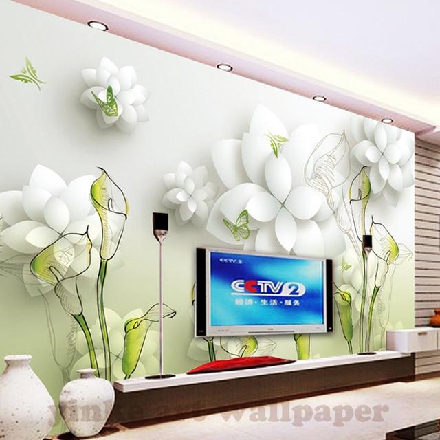 3d Papier Peint Belle Blanc Fleurs Blanc Photo Peintures Murales
