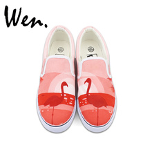 Wen Original Design Flamingo Bird Sunset Pink Slip on Hand Painted Shoes Men Women's Canvas Sneakers