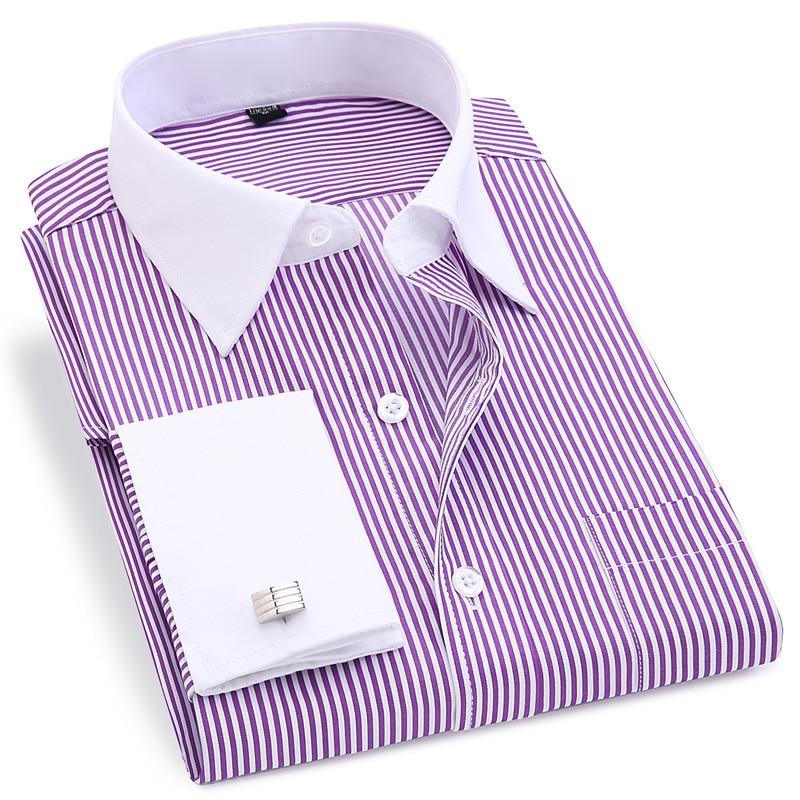 High Quality Striped Men French Cufflinks Casual Dress Shirts Long Sleeved White Collar Design Style Wedding Tuxedo Shirt 6XL 5