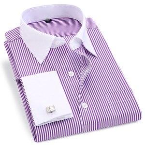 Image 5 - 高品質ストライプ男性フレンチカフスカジュアルドレスシャツ長袖ホワイトカラーデザインスタイルウェディングタキシードシャツ 6XL