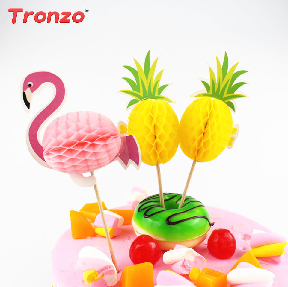 Tronzo 10pcs/lot Flamingo Cake Topper Biathday Party Decorations Cake Cartoon Paper Cupcake Toppers For Baby Shower Kids Favors