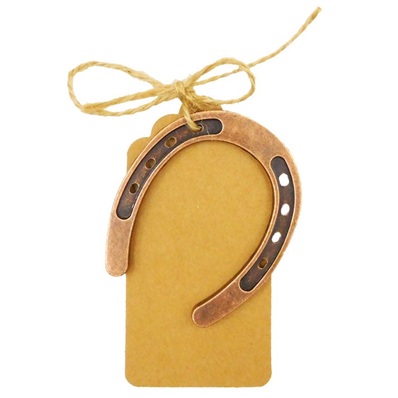 50 pièces métal fer à cheval cadeaux de mariage Souvenirs centres de Table de mariage papier Kraft étiquettes bricolage carte vierge bébé douche Souvenir