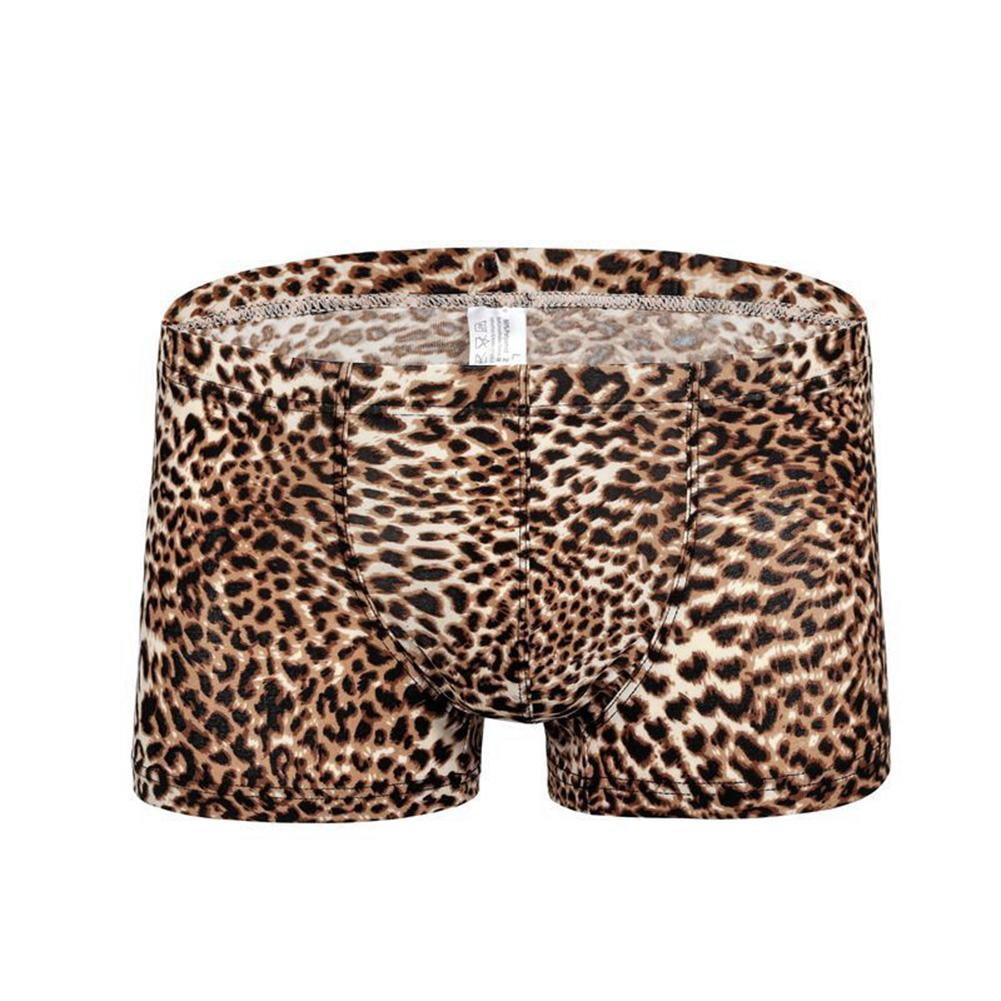 HobbyLane Men Leopard Print Sexy Breathable Boxers with Convex Pouch(China)