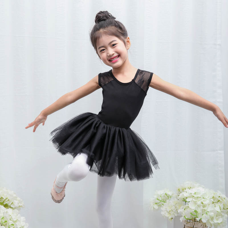 0dfe63387 Black Ballet Tutu Children 2018 New Short Sleeve Practice Leotard ...