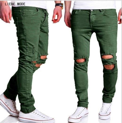 2017 Men Ripped Jeans Pants With Big Holes European Style Mens Slim Fit Vintage Denim Pants Black Army Green Jeans Hommes