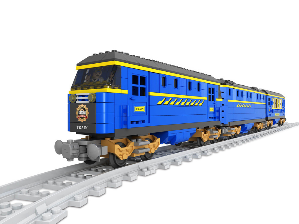 Ausini Model building kits compatible with lego city Transportation Train 1024 3D blocks Educational toys hobbies for children lepin 02012 city deepwater exploration vessel 60095 building blocks policeman toys children compatible with lego gift kid sets