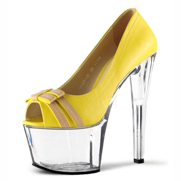 Vert Plate Stripper Pompes Gladiateur Mode Parti 17 Chaussures Hauts jaune Talons D'été Sandales Cm Femmes Sexy forme 1qwx1R7Z