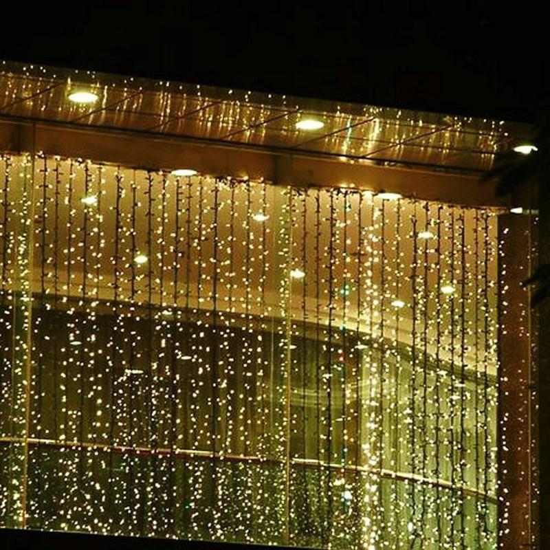 110V RGB 300 LEDS 3M*3M Led Waterfall Outdoor String Light Christmas Wedding Party Holiday Garden LED Curtain Lights Decoration 6m x 3m led curtain waterfall fairy lights christmas party wedding holiday decoration lighting icicle waterfall light 110v 220v