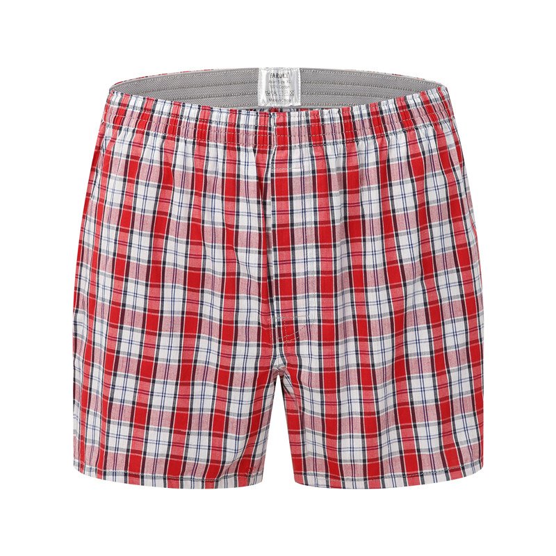 Men Underwear Red Boxers Plaid Loose Shorts Men Panties Cotton The Large Arrow Pants Plus Size Classic Basics Wear At Home