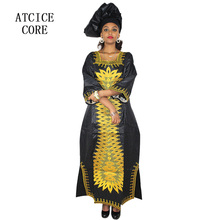 African embroidery design long dress with scarf