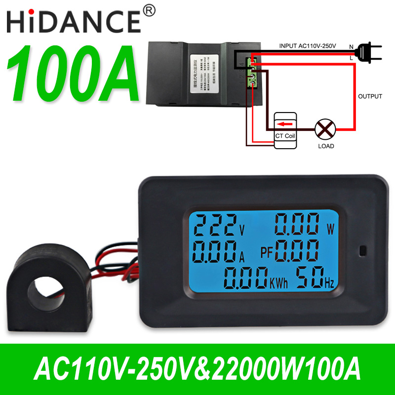 5KW AC 85 ~ 250 V Voltaje Metros indicador Digital Voltios Amperios Del Amperímetro Del Voltímetro de corriente de Energía vatímetro probador detector