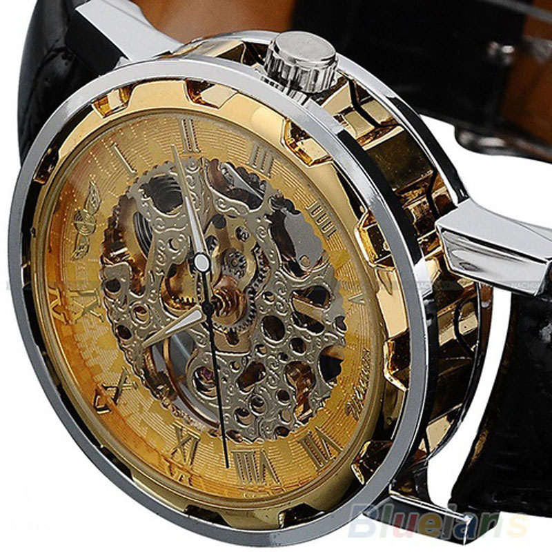 2016 Fashion Casual WINNER Stainless Steel font b Men b font Mechanical Watch Skeleton Hand Wind