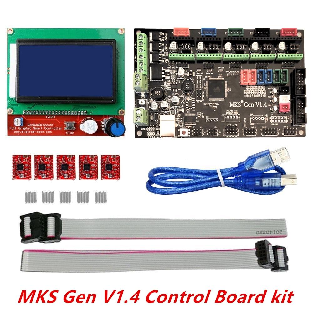 ФОТО 3D printer kit MKS Gen V1.4 with MKS Gen V1.4 RepRap board + 5PCS A4988 Driver + 12864 Graphic LCD