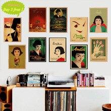 Póster clásico de póster de Amelie de película retro papel Kraft pinturas decorativas de pared vintage