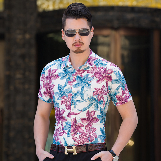 Hot Selling Summer Fashion Men\u0027s Print Shirt Short Sleeve Floral Party  Shirt Mens ClothingTrend Mens Casual Flower Shirts M,7XL