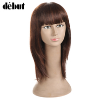 Debut Hair Straight Human Hair Wigs Remy Wigs For Black Women None Lace Human Hair Wigs With Bangs Free Shipping