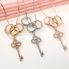 Key Lock Fashion Long Statement Necklace for Women