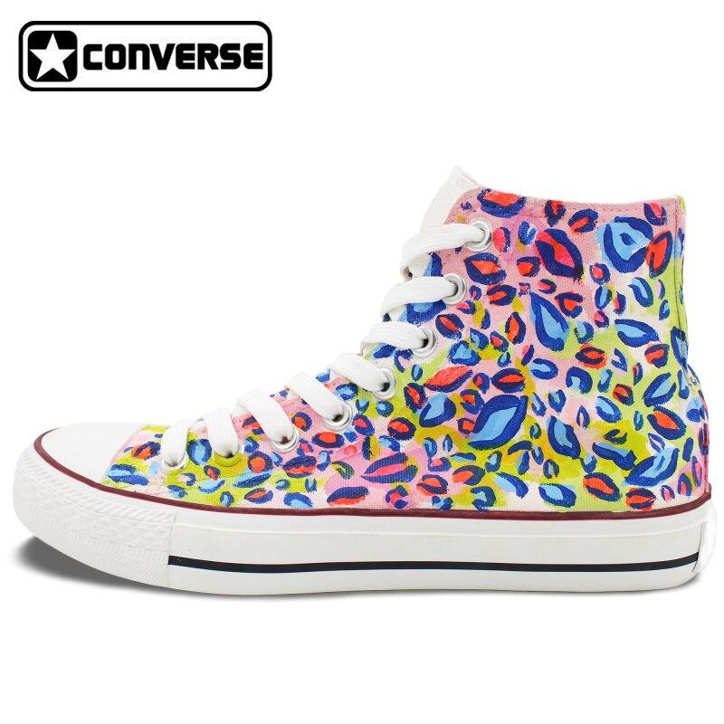 Unisex font b Sneakers b font Converse Men Women Colorful Leopard Print Hand Painted Canvas Shoes