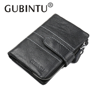 GUBINTU 100 Genuine Leather Men Wallets With Coin Pocket Soft Leather Wallet Zipper Hasp High Quality