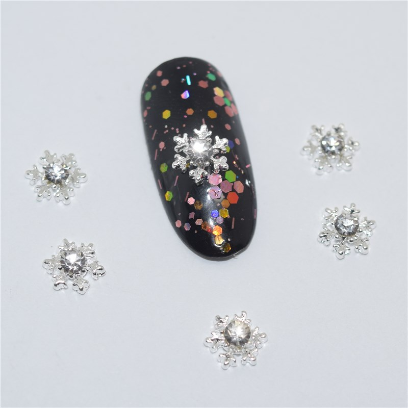 10psc New Rhinestone Silver snowflakes 3D Nail Art Decorations,Alloy Nail Charms,Nails Rhinestones  Nail Supplies #578