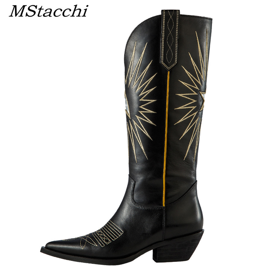 MStacchi 2019 New Genuine Leather Embroider Knee High Boots Women Pointed Toe Chunky Heel Winter Shoes Sexy Female Knight Boots