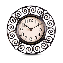 10-inch Hanging Table Clock Hollow Imitation of iron Art Ultra-quiet Wall Clock Retro European Style Living Room Bedroom Hanging